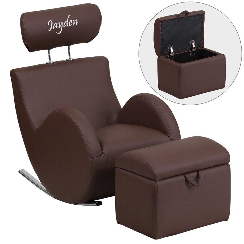 Hercules Series Personalized Kids Rocking Chair And Ottoman With Storage  Compartment