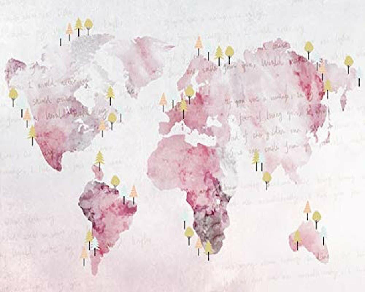 Gk Wall Design Pink World Map Textile Wallpaper Wayfair