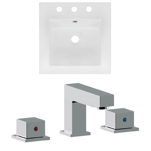 American Imaginations 3 Hole Ceramic Square Drop-In Bathroom Sink with Faucet