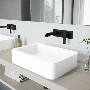 Best Price Petunia Stone Rectangular Vessel Bathroom Sink with Faucet By VIGO