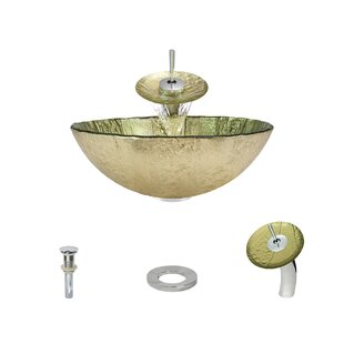 Comparison Gold Foil Glass Circular Vessel Bathroom Sink with Faucet ByMR Direct