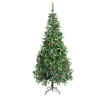 9 green pine artificial christmas tree with pine cones and stand