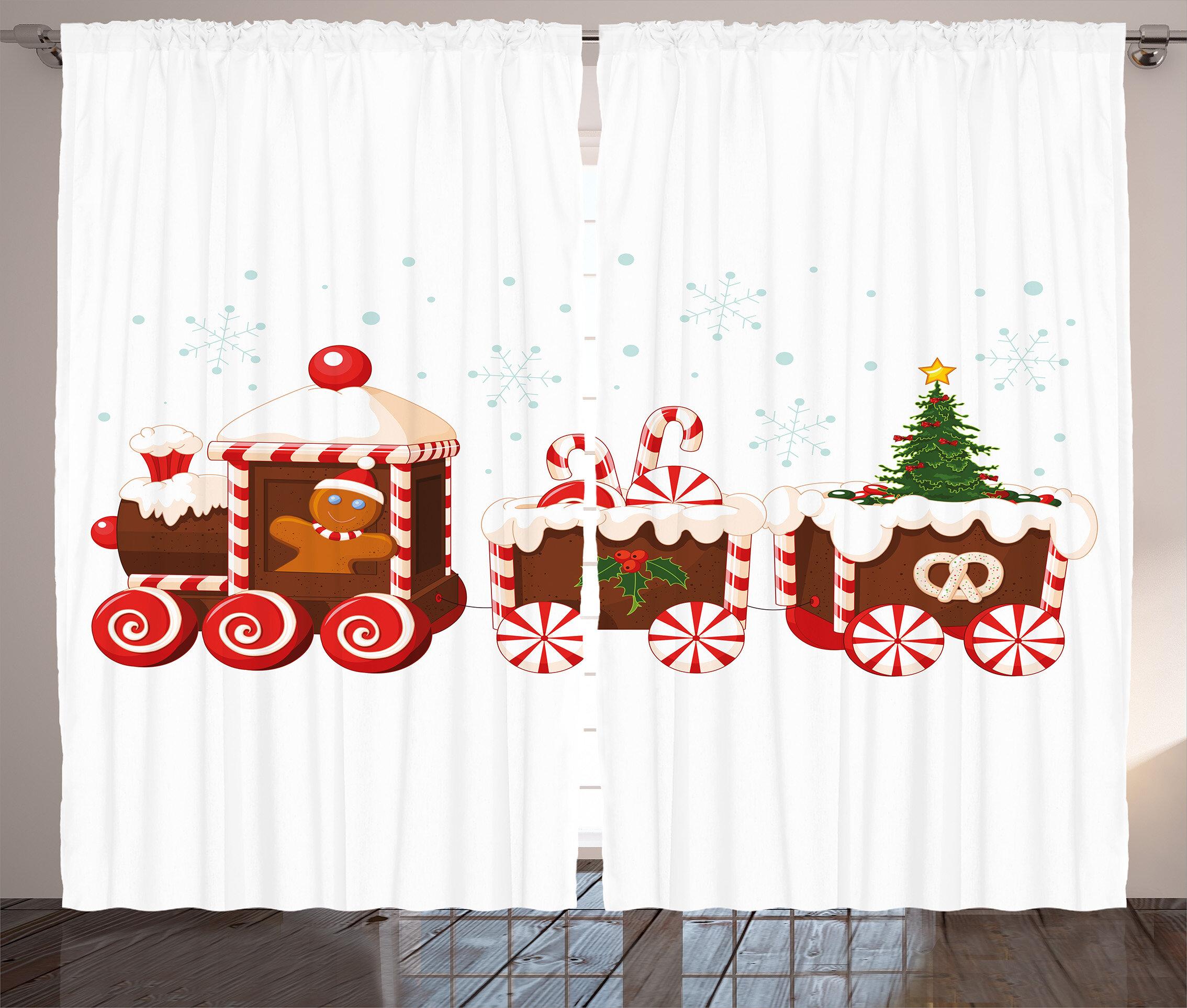Christmas Candy Train.Christmas Candy Train Graphic Print Room Darkening Rod Pocket Curtain Panels