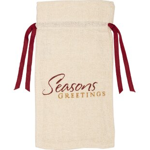 Castor Tabletop and Kitchen Burlap Seasons Greetings Wine Bag Carrier