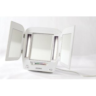 Best Reviews Euro Tabletop Dual Sided Tri Fold Lighted Makeup Mirror with Built-In Outlet By Jerdon