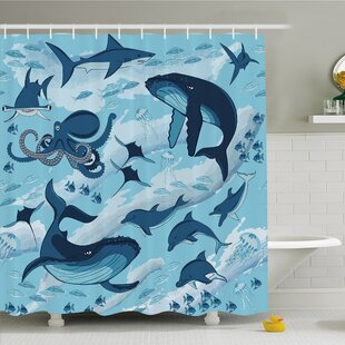 Sea Animal Inhabitants of Sea Whales Dolphins Octopus Jellyfish Starfish with Waves Image Shower Curtain Set
