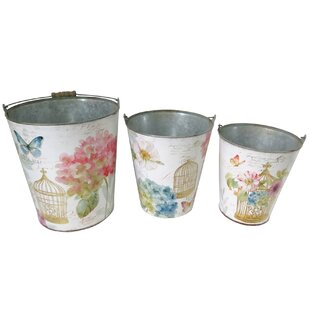 Elsa Birdcage And Butterfly 3 Piece Metal Plant Pot Set By Lily Manor