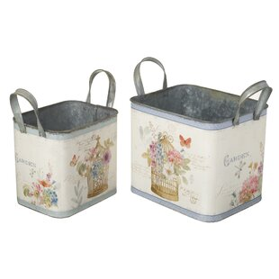Floral Decorated Metal 2 Piece Bucket Set By Lily Manor