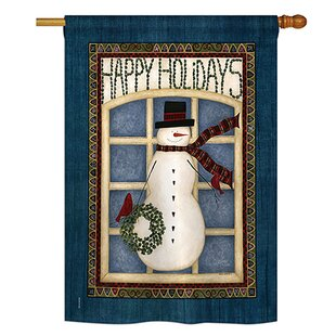 Happy Holidays Snowman Winter 2-Sided Polyester 3'4 X 2'4 House Flag by Breeze Decor