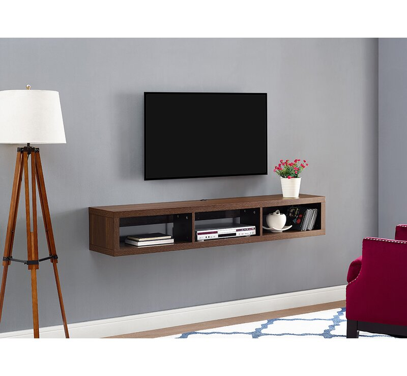 Martin Home Furnishings Shallow Wall Mounted Tv Stand For Tvs Up To