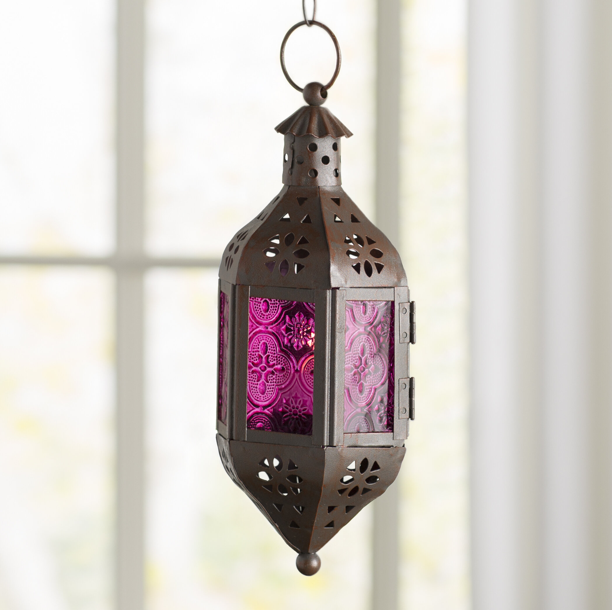 World Menagerie Amethyst Glass And Metal Lantern Reviews Wayfair