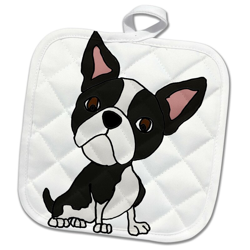 Rose Funny Cute Boston Terrier Puppy