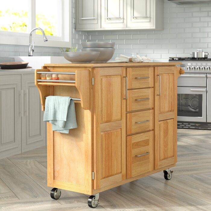 Kennedy Kitchen Island with Wood Top