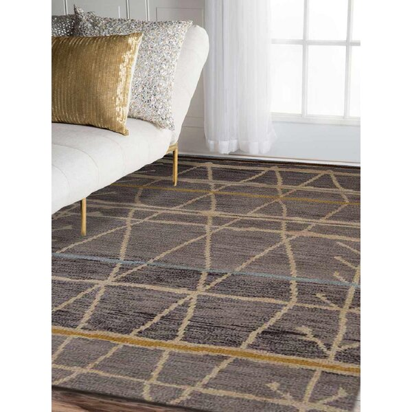 Union Rustic Manns Abstract Hand Knotted Wool Dark Brown Area Rug Reviews Wayfair