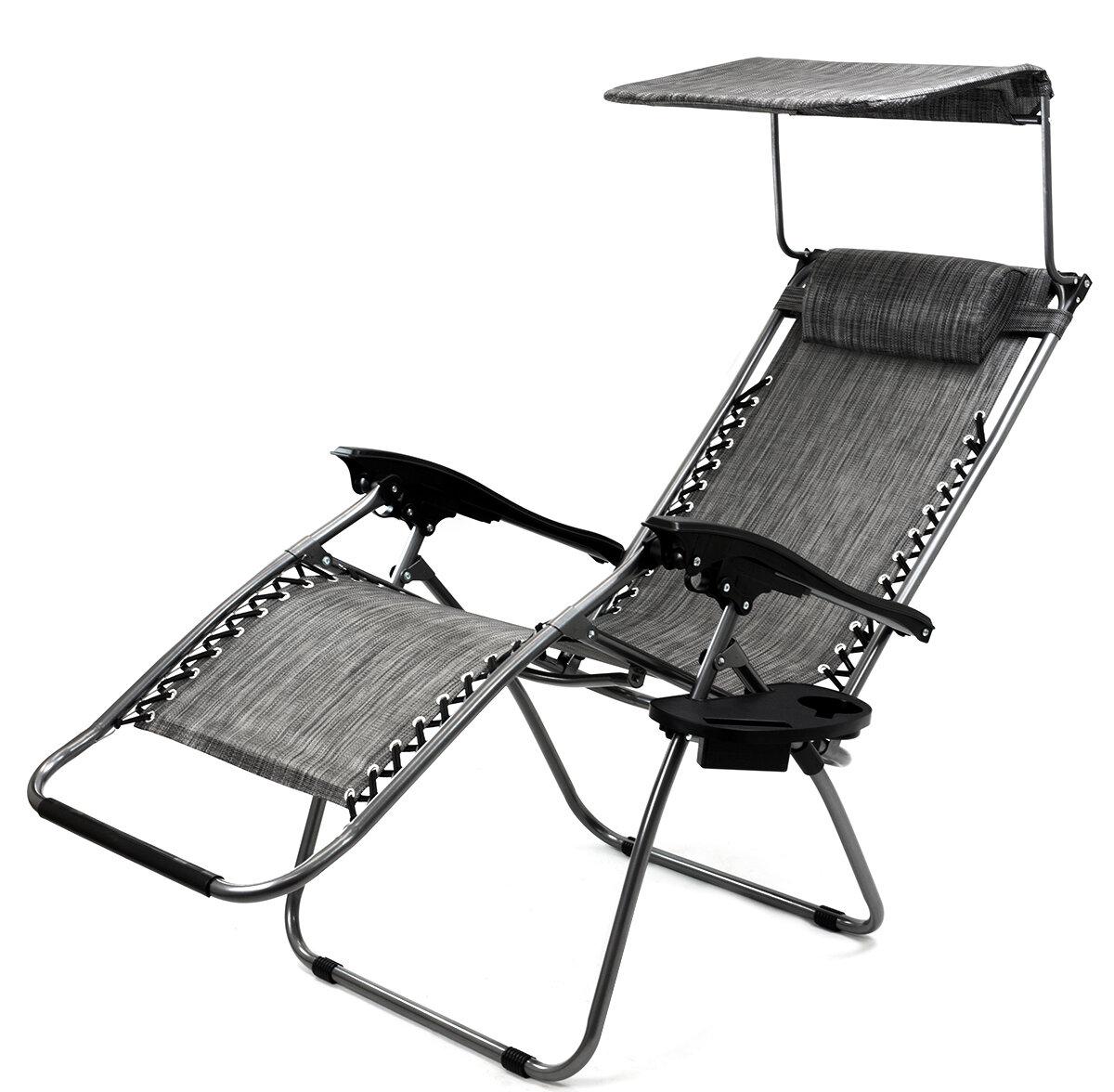 Sunshade Reclining Zero Gravity Chair With Cushion