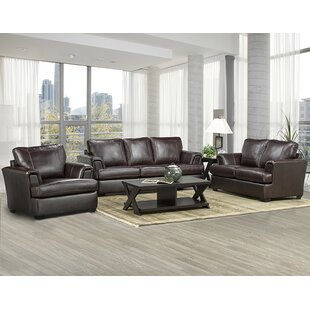 Loon Peak Verano Leather 3 Piece Living R..