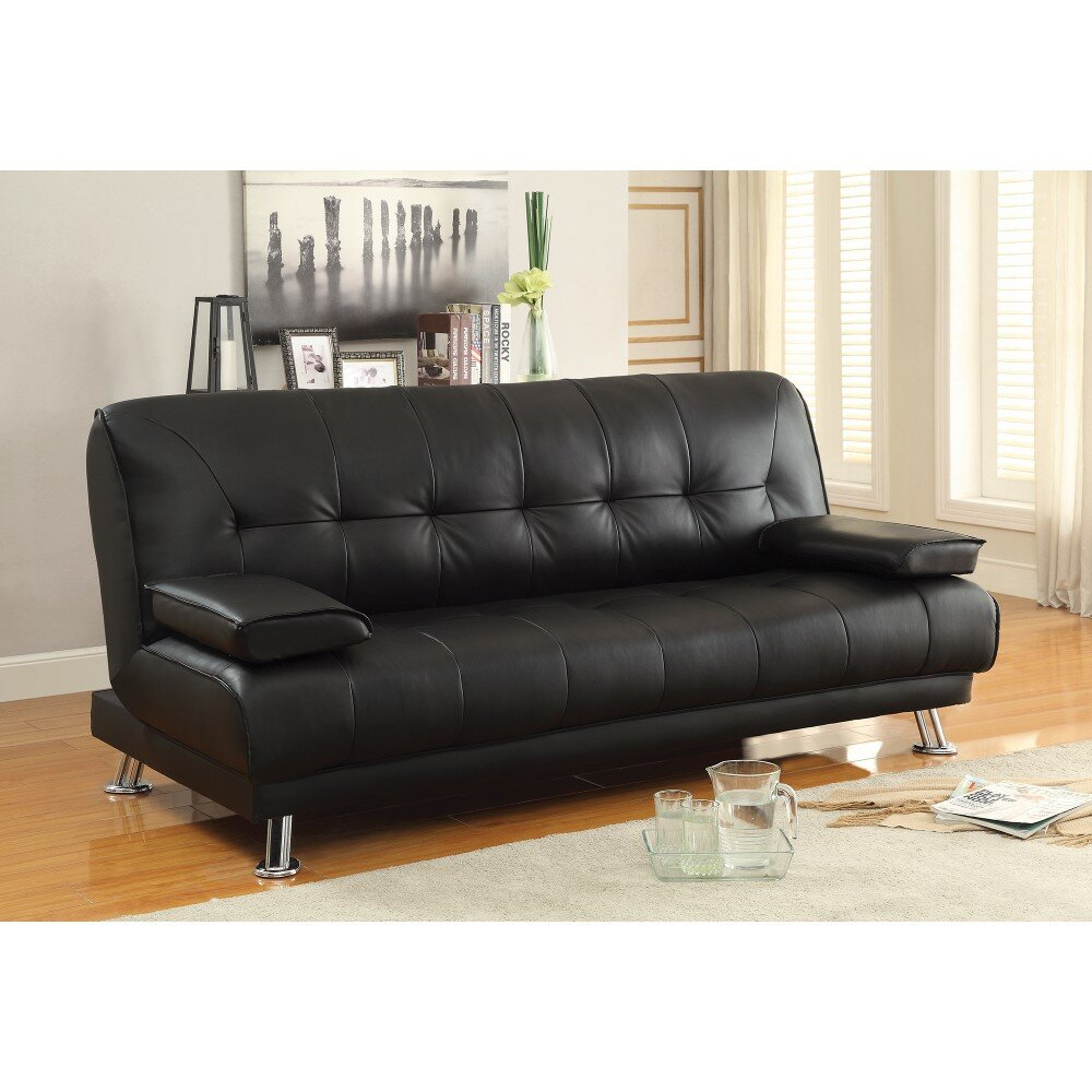 Schupple Faux Leather Convertible Sofa
