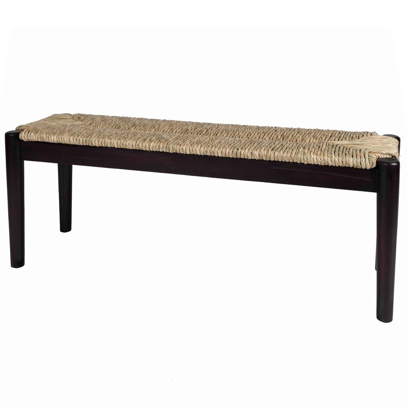 August Grove Harlowe Wicker Bench  Color: Black Finish Frame with Seagrass Woven Seat