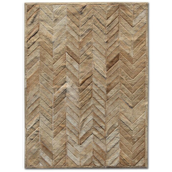 Patchwork Cowhide Yves Wheat Area Rug