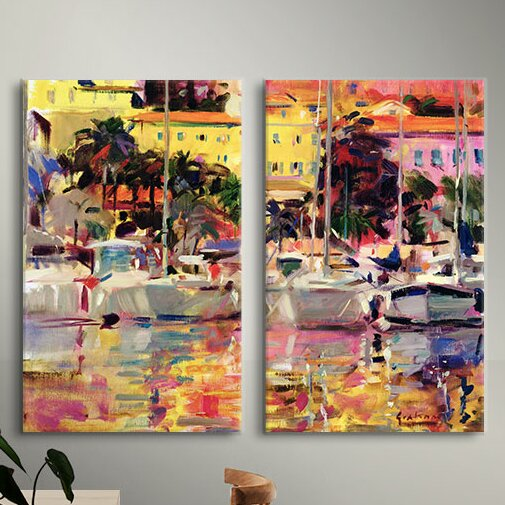 Golden Harbour Vista by Peter Graham 2 Piece Painting Print on Wrapped  Canvas Set