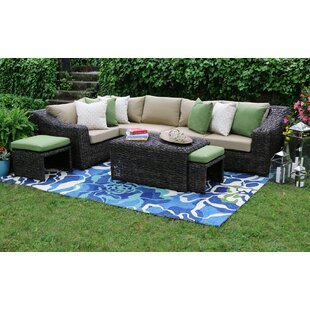 AE Outdoor Williams 8 Piece Sunbrella Sectional Set with Cushions