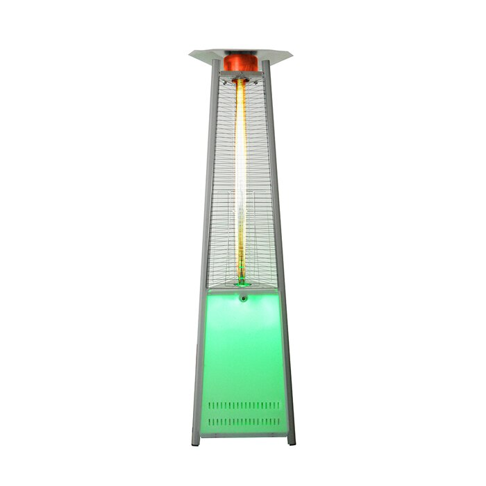 Triangular Commercial LED Colour Base Flame 42,000 BTU Patio Heater With  Remote