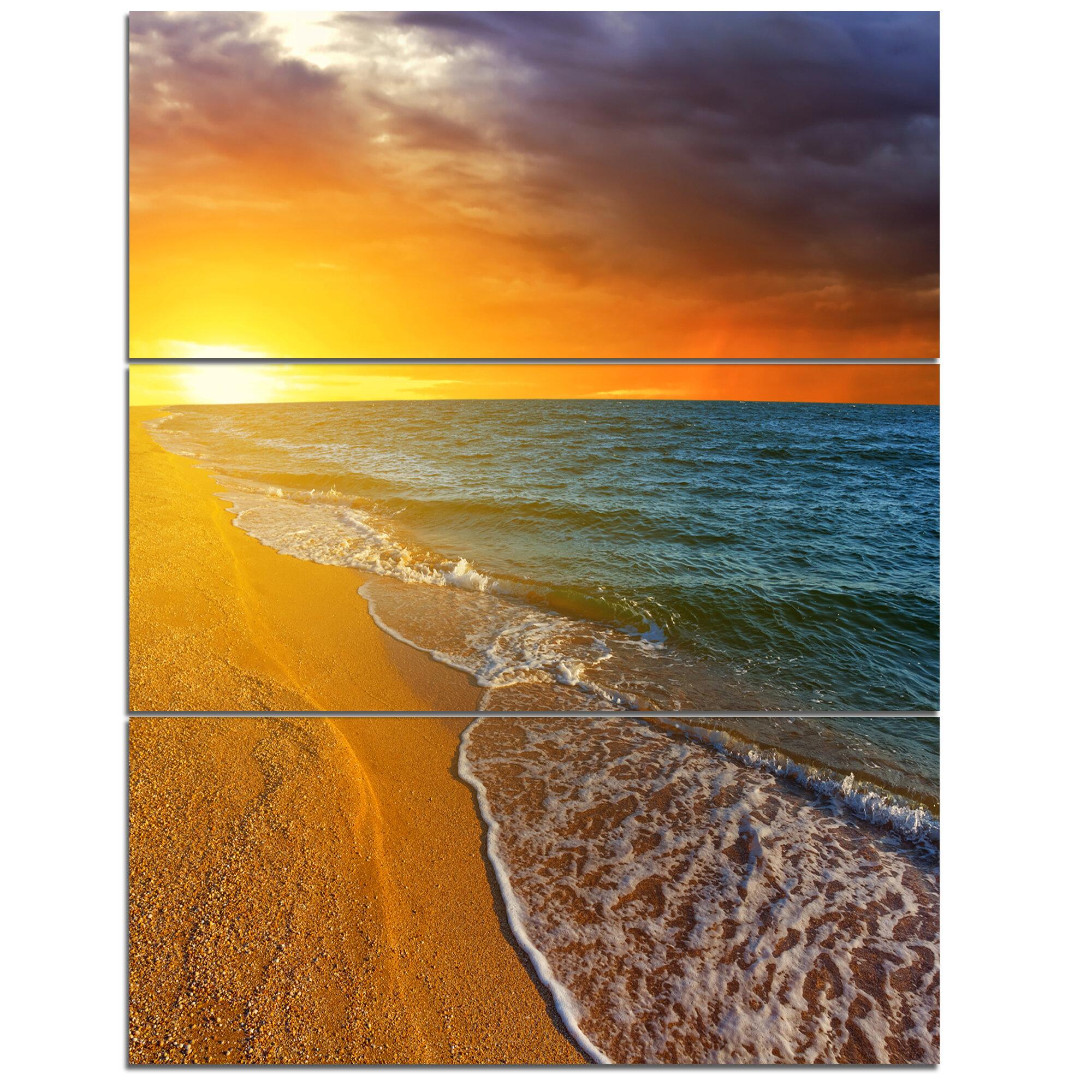 Designart Fantastic Yellow Sky In Blue Beach 3 Piece Graphic Art On Wrapped Canvas Set Wayfair