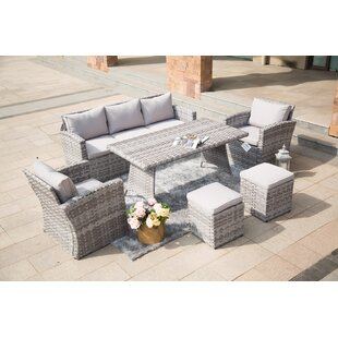 Myers 6-Piece Sofa Seating group with Ottomans and Luxury Cushions Lounge Set