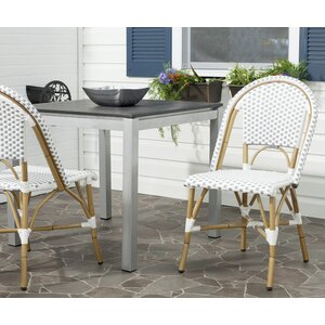 Lucia Stacking Patio Dining Chair with Cushion (Set of 2)