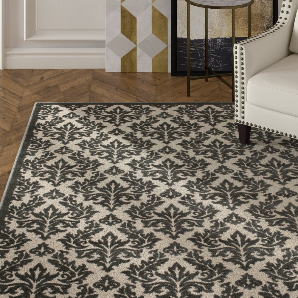 House Of Hampton Hartz Ivory Gray Area Rug