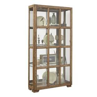 Clyde Windowpane Sliding Door Lighted Curio Cabinet