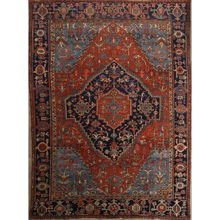 One-of-a-Kind Magallanes Traditional Heriz Serapi Persian Hand-Knotted 9'6 x 13' Wool Orange/Blue Area Rug By Isabelline