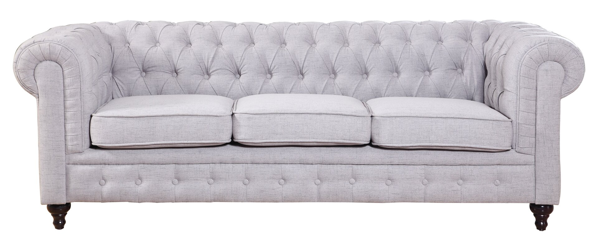 Elina Classic Tufted Linen Fabric Chesterfield Sofa