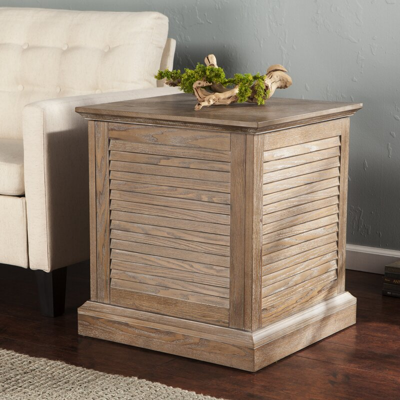 Adreanna Louvered Trunk End Table