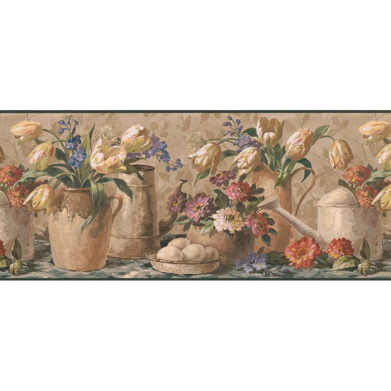 August Grove Bigham Flowers In Pots Vases Extra Wide Retro Design 15