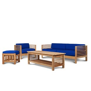 Crider 4 Piece Teak Sunbrella Sofa Seating Group with Cushions by Rosecliff Heights