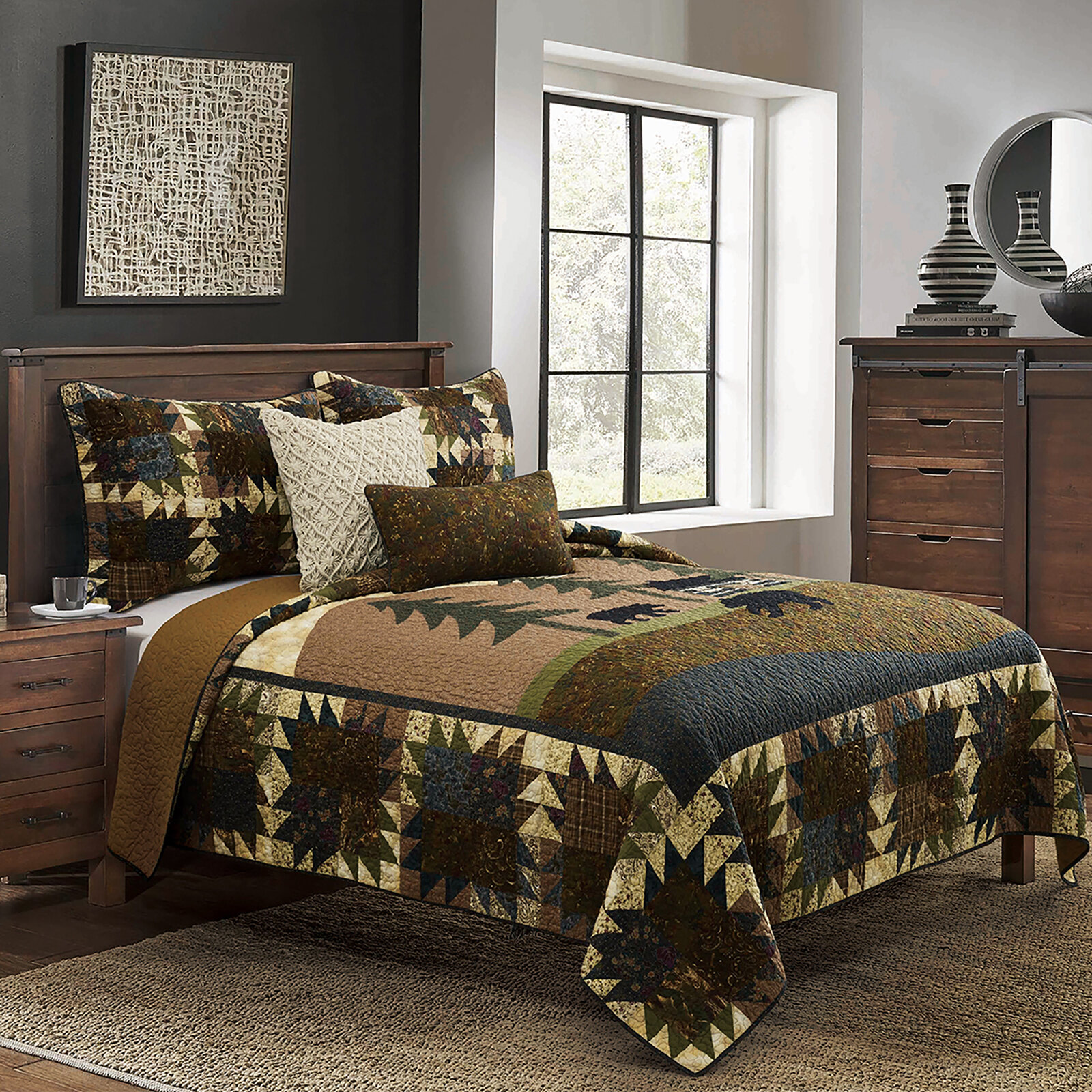 Rustic Mountain Lodge Quilt Bedding Set Cabin Woods Moose Bear Black And Grey Quilts Bedspreads Coverlets Home Garden