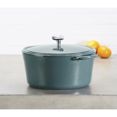 6 Qt. Enamel Covered Cast Iron Round Dutch Oven Ayesha Curry Color: Twilight Teal