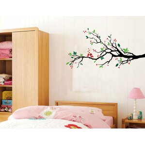 tree branches with leaves and love birds wall decal