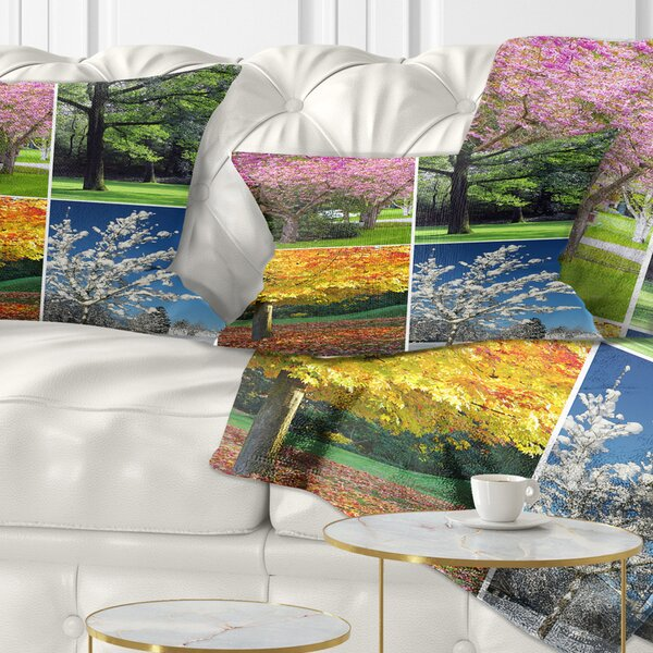 East Urban Home Landscape Printed Four Seasons Trees Collage Lumbar Pillow Wayfair