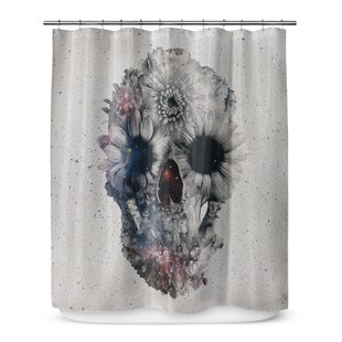 Grogg Floral Skull Single Shower Curtain