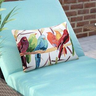 Thornaby Flocked Together Birds Indoor/Outdoor Lumbar Pillow