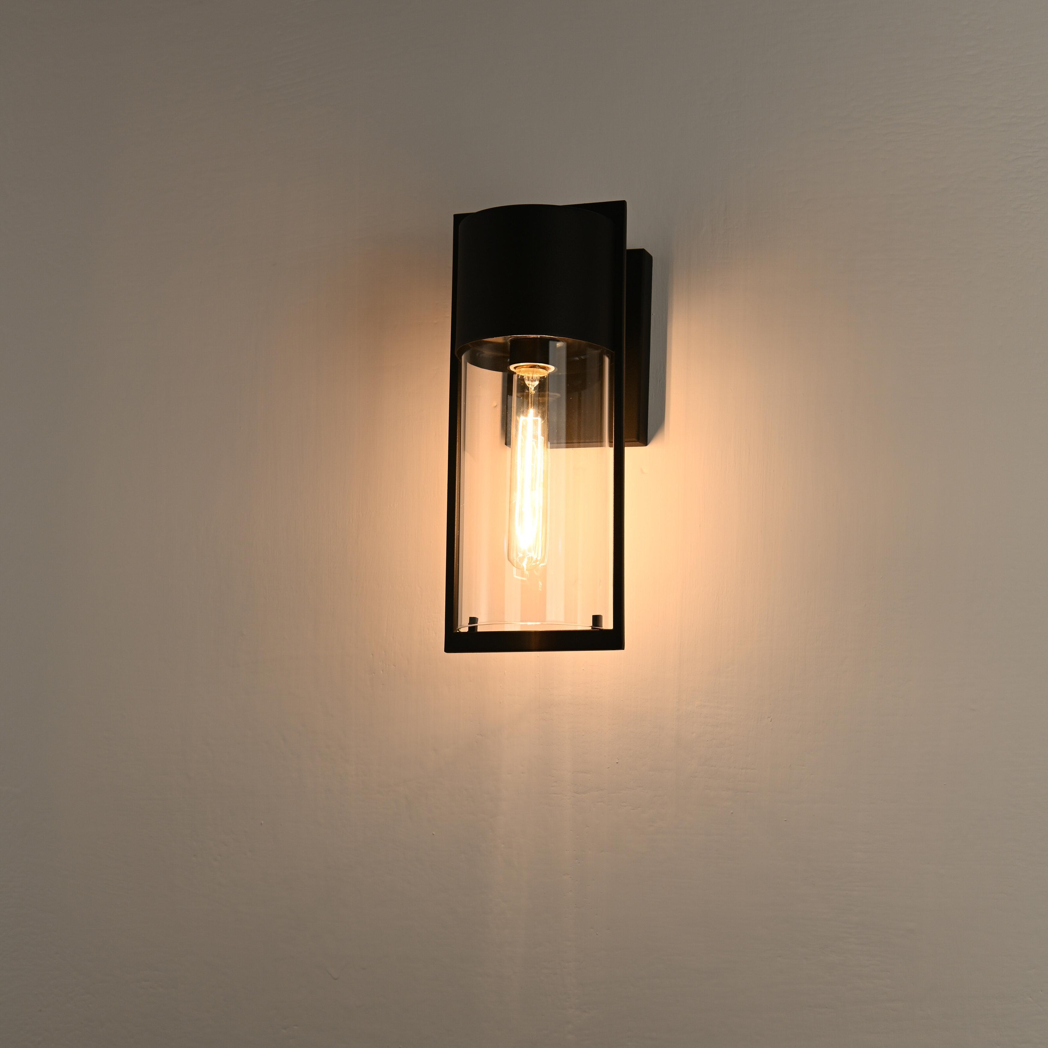 Wrought Studio Tyler Kridia 1 Light Textured Black Outdoor Wall Sconce 14 Height