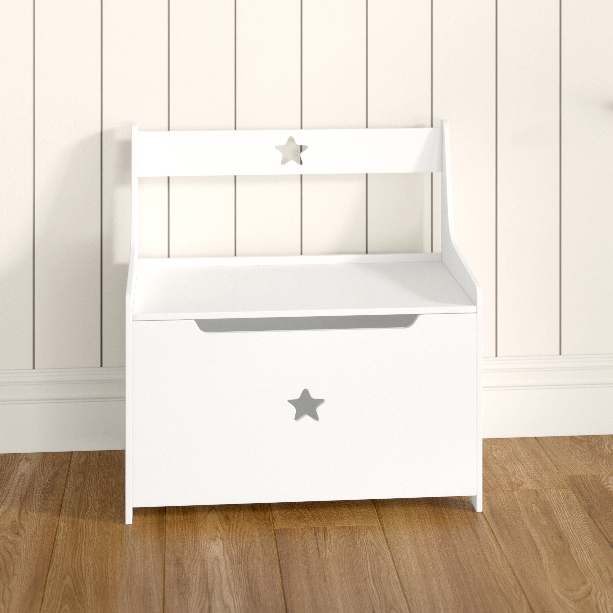 Kids Wooden Heart Cut Out Storage Box Bedroom Toy Chest Children's Playroom NEW