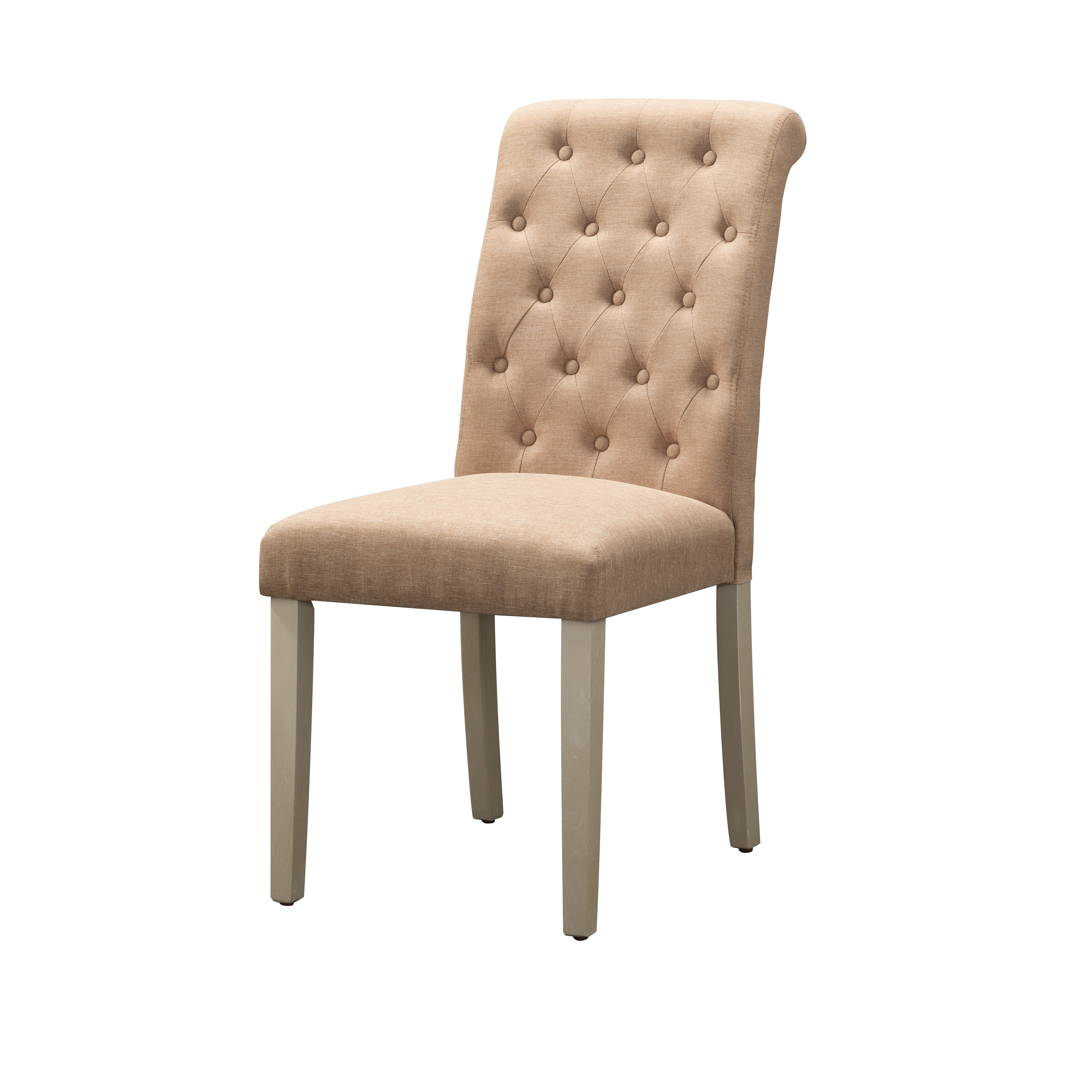 Ophelia Co Goshen Tufted Fabric Upholstered Side Chair In Brown Wayfair
