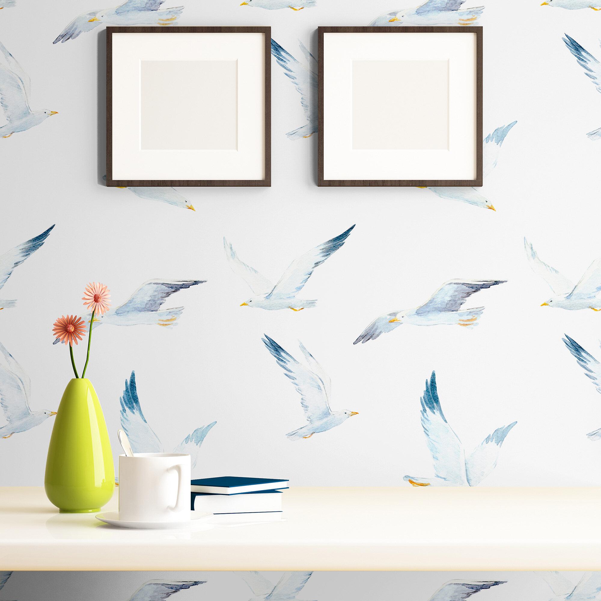 ridge bird nautical removable peel and stick wallpaper panel