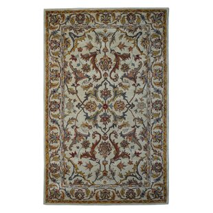 Reviews Wool Floral Hand-Tufted Sage/Gold Area Rug ByEastern Weavers