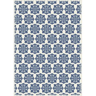 Price comparison Classen Modern European Design Blue/White Indoor/Outdoor Area Rug By Bungalow Rose