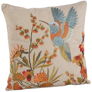 Natureza Hummingbird Embroidery 100% Cotton Throw Pillow