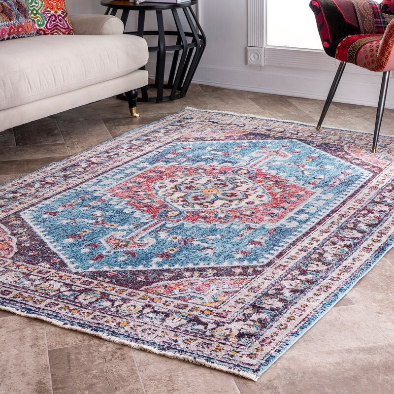 Bungalow Rose Rolph Blue Area Rug Wayfair